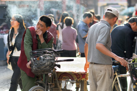 Man smoking in China